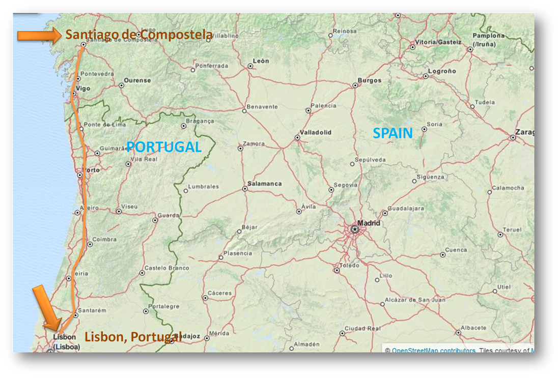 Camino Portuguese Map Additional Information The Road To Santiago - Portugal map fatima